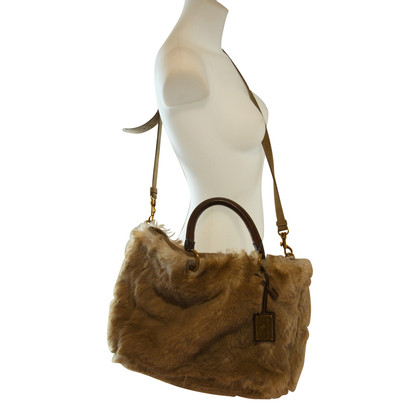 Car Shoe Handbag with faux fur trim