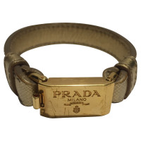 Prada Gold colored leather bracelet