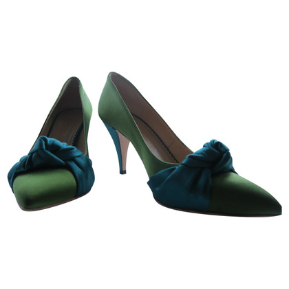 Charlotte Olympia Green satin pumps