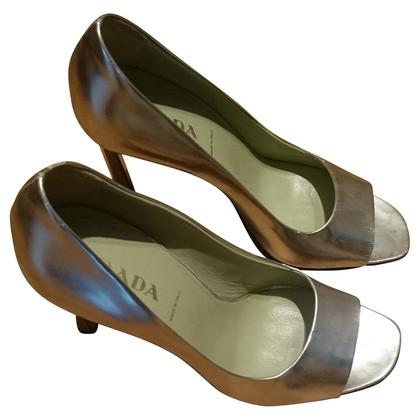 Prada Silver peep-toes