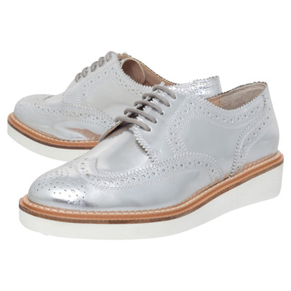 Kurt Geiger Knox Patent-Leather Silver  Brogues