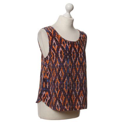 Cynthia Rowley Silk top with Ikat patterns