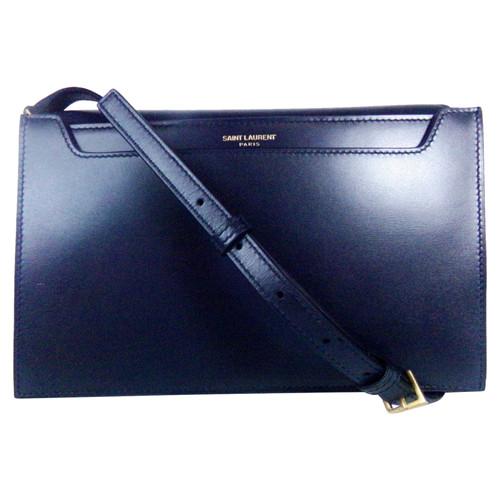 e906e81896d Yves Saint Laurent Shoulder bag Leather in Blue - Second Hand Yves ...