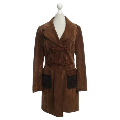 Prada Cappotto di pelle di camoscio marrone scuro