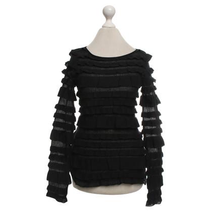 Piu & Piu camicia maglia Fine in nero / blu