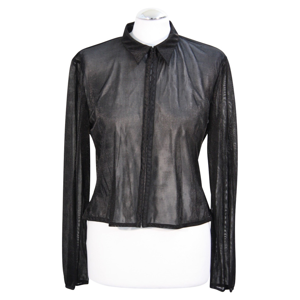 karen millen transparente bluse in schwarz second hand karen millen transparente bluse in. Black Bedroom Furniture Sets. Home Design Ideas