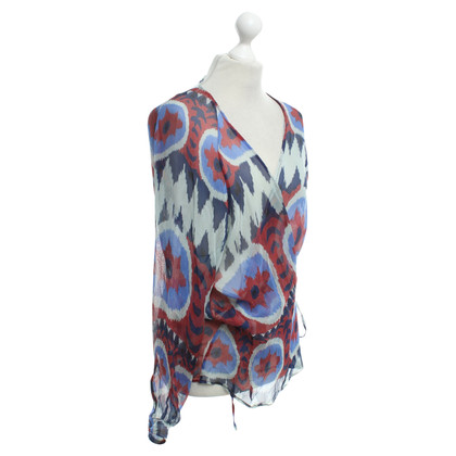 Dondup Blouse in blauw / rood / grijs