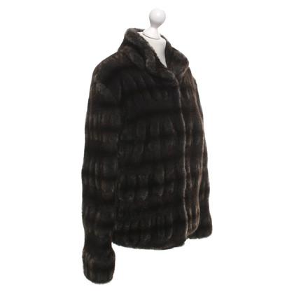 Riani Faux fur coat in dark brown