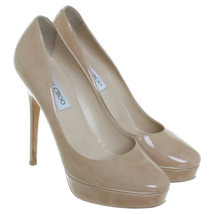 Jimmy Choo Lackleder-Pumps in Nude