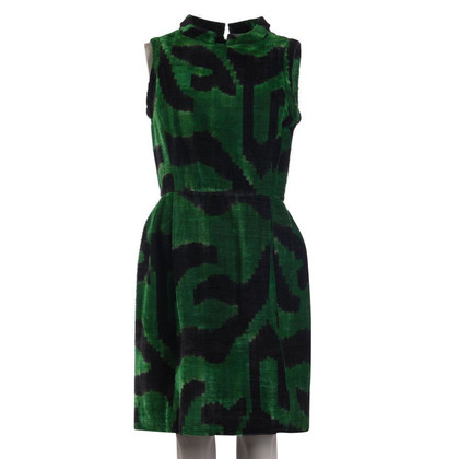 Oscar de la Renta Silk dress in green / black