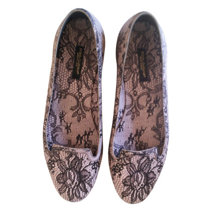 Dolce & Gabbana Gray floral lace slippers