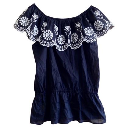 Escada Zwart-wit lochstickerei blouse