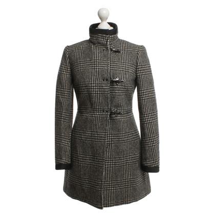Fay cappotto foderato in nero / bianco