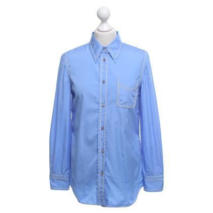 Prada Bluse in Blau/Creme