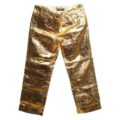 Dolce & Gabbana Gold-colored trousers made of eel