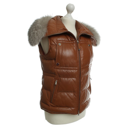 Tod's Leather vest with real fur