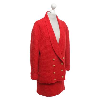 Chanel Bouclé kostuum in rood