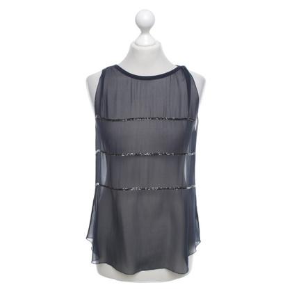 L'Agence Silk top in dark blue