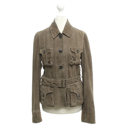 René Lezard Leather jacket in olive