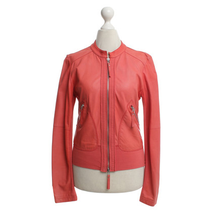 Pinko Leather jacket in coral red