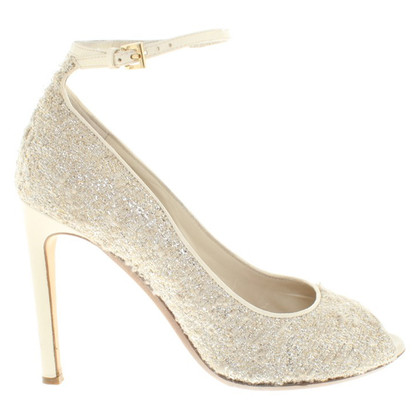 Moschino Peeptoes in cream white