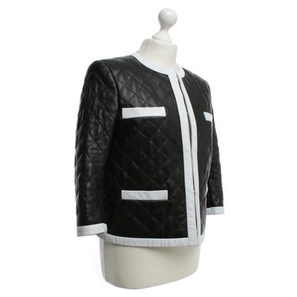 Moschino Lederjacke in Schwarz/Weiß