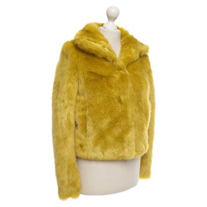 Patrizia Pepe Giacca in pelliccia sintetica verde chiaro