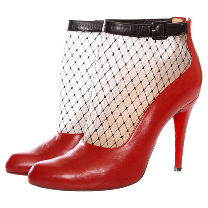 Christian Louboutin red leather ankle boots