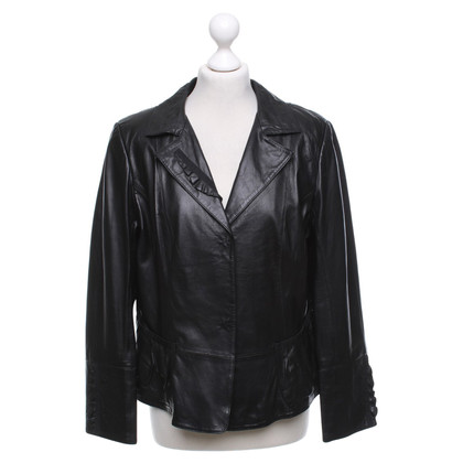Marc Cain Leather Blazer in Black
