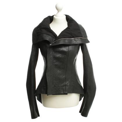 Rick Owens Leren jas in zwart