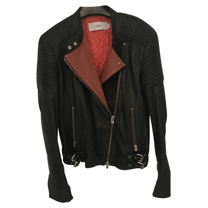Closed Bikerlederjacke in nero