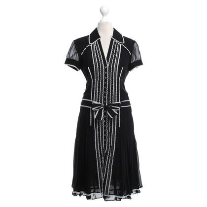 Karen Millen Seidenkleid in Schwarz/Weiß