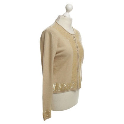 Steffen Schraut giacca di cashmere beige con paillettes