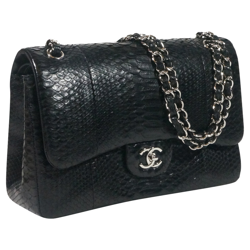chanel double flap bag in python buy second hand chanel double flap bag in python. Black Bedroom Furniture Sets. Home Design Ideas
