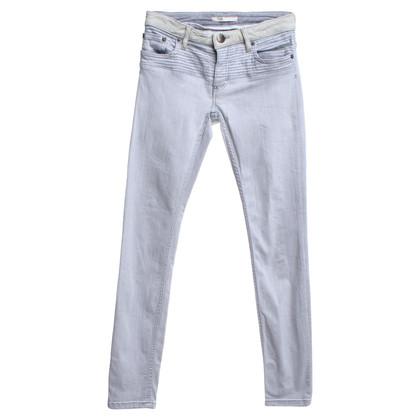 Maje Graue Jeans mit Leder-Details