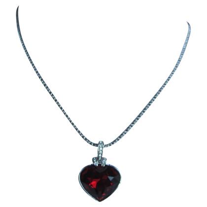 Swarovski Red heard necklace.