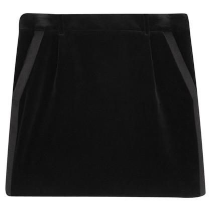 Saint Laurent Black Velvet Tuxedo Mini Skirt