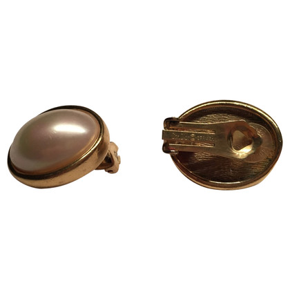 Christian Dior Oval pearl ear clips