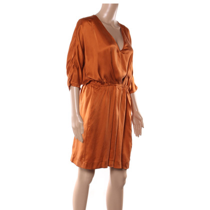 Maje Robe en soie orange