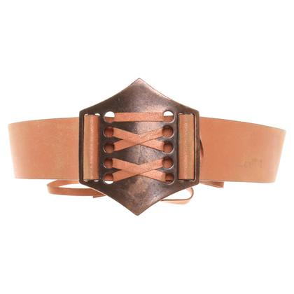 Roberto Cavalli Copper-colored leather belt