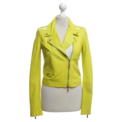 Just Cavalli Leather Jacket in neon geel