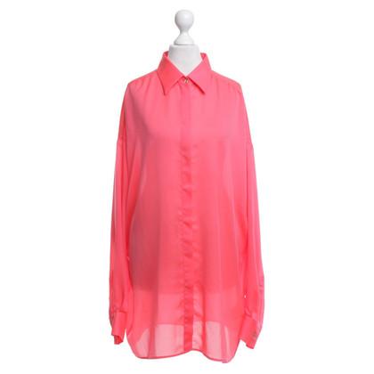 Versace camicetta di seta in neon rosa