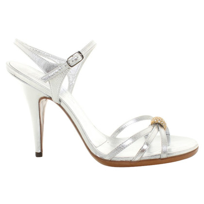 Pedro Garcia Lederpumps in Silber-Metallic