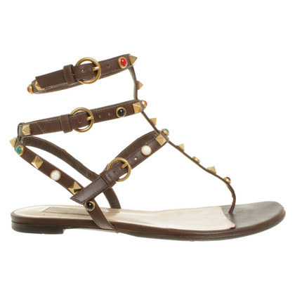 Valentino Rockstud sandals in brown