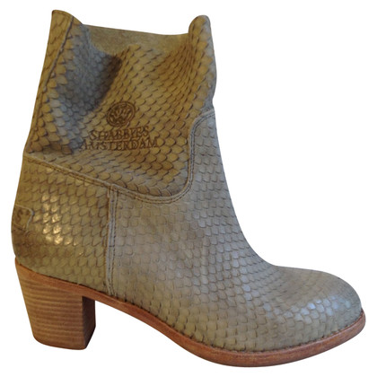 Shabbies Amsterdam Ankle boots with reptile optics