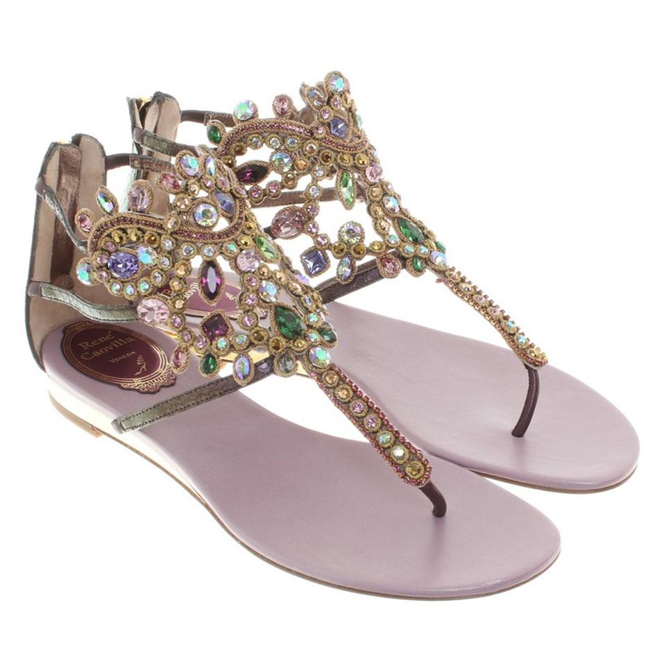 ren caovilla sandalen mit glitzersteinen second hand