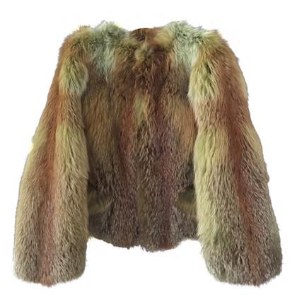 Luisa Cerano dyed fox fur jacket green