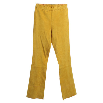 Stouls Mustard yellow trousers suede