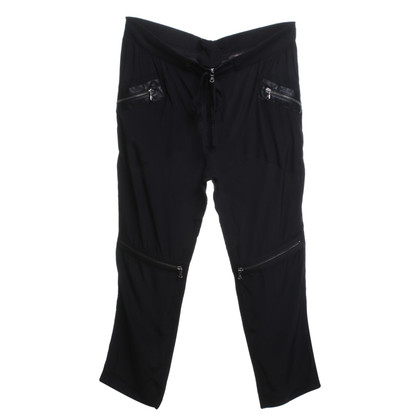 Roberto Cavalli Black silk trousers in a biker look