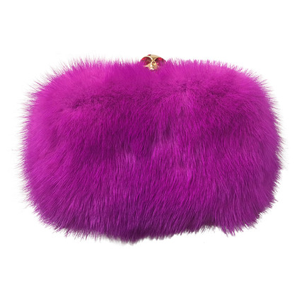 Alexander McQueen Skull-Clasp Mink Box Clutch Pink